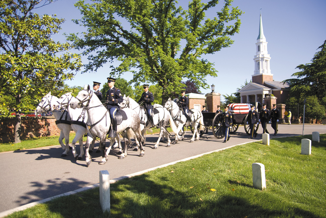 The horse-drawn caisson bearing Staff Sgt. Rip Winkler's casket enters <br> Arlington National Cemetery the morning of May 5, 2011, after a <br> 9 a.m. service at Old Post Chapel at Fort Myer, Arlington. Winkler's <br> B-25 crashed in the jungles of the Phillipines in April 1945, and his sister, <br>  Mickey Beard, spent decades searching for her brother's remains. <br> More than 60 years after his death Rip Winkler <br> was laid to rest with a full honors military funeral.